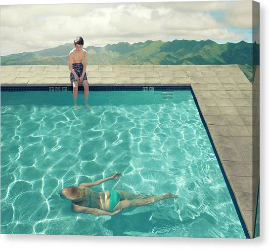 Swimming Canvas Print - Young Boy by Fang Tong