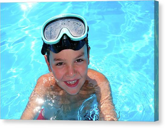 Snorkling Canvas Print - Young Boy In A Swimming Pool by Mauro Fermariello/science Photo Library