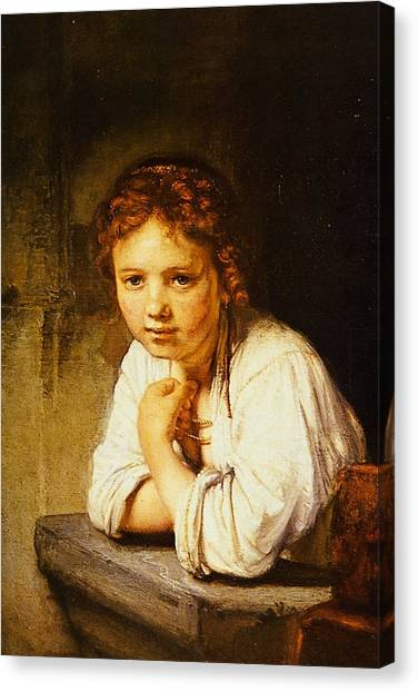 Young Girl At A Window Painting By Rembrandt