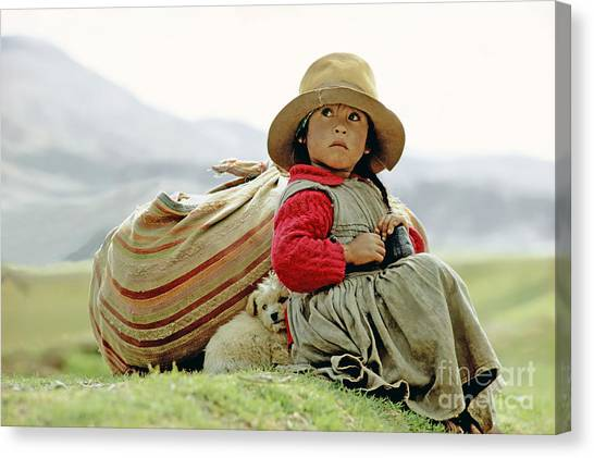 Andes Mountains Canvas Print - Young Girl In Peru by  Victor Englebert