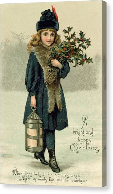 Mistletoe Canvas Print - Young Girl With Holly And Lantern by English School