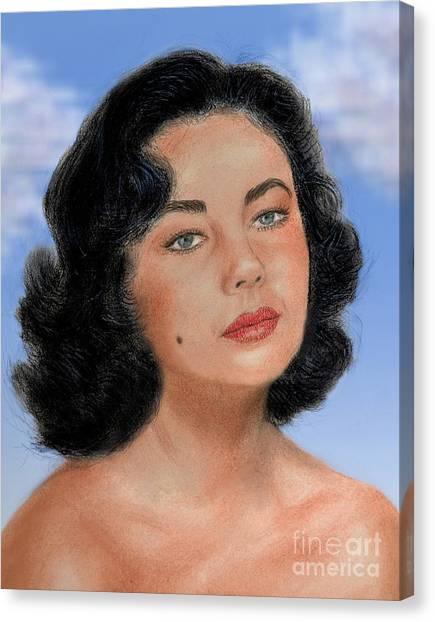 Elizabeth Taylor Canvas Print   Young Liz Taylor Portrait Remake Version II  By Jim Fitzpatrick
