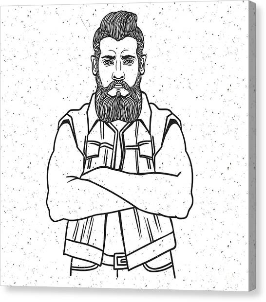 Engraving Canvas Print - Young Man Bearded Biker. Hand Drawing by Shik shik