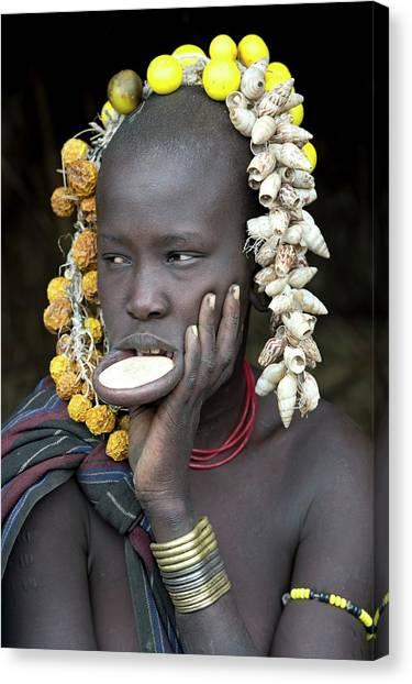 Ethiopian Woman Canvas Print - Young Mursi Girl With Lip Plate Inserted by Tony Camacho