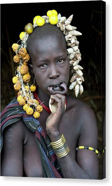 Ethiopian Woman Canvas Print - Young Mursi Girl Without Lip Plate by Tony Camacho