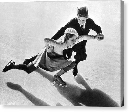 Acrobatic Canvas Print - Young Pair-skating Couple by Underwood Archives