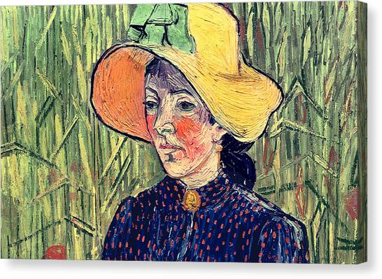 Post-impressionism Canvas Print - Young Peasant Girl In A Straw Hat Sitting In Front Of A Wheatfield by Vincent van Gogh