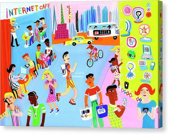 Young People Using Mobile Technology In Canvas Print
