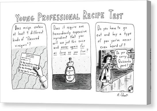 Tile Canvas Print - Young Professional Recipe Test by Roz Chast