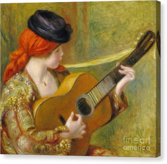 Guitar Canvas Print - Young Spanish Woman With A Guitar by Pierre Auguste Renoir