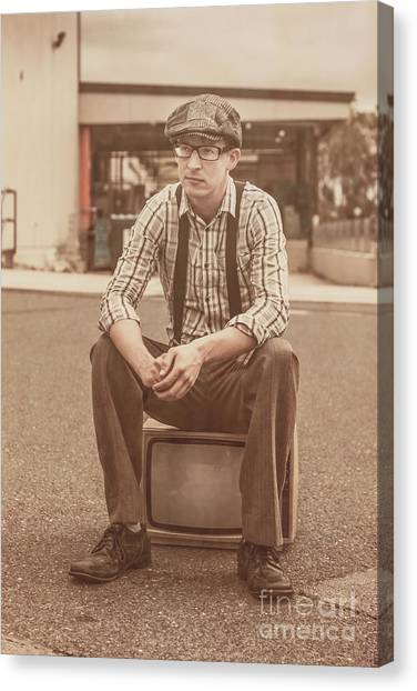 Braces Canvas Print - Young Vintage Man Seated On Old Tv by Jorgo Photography - Wall Art Gallery