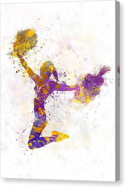 Cheerleading Canvas Print - Young Woman Cheerleader 03 by Pablo Romero