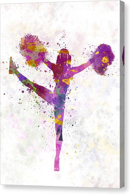 Cheerleading Canvas Print - Young Woman Cheerleader 04 by Pablo Romero