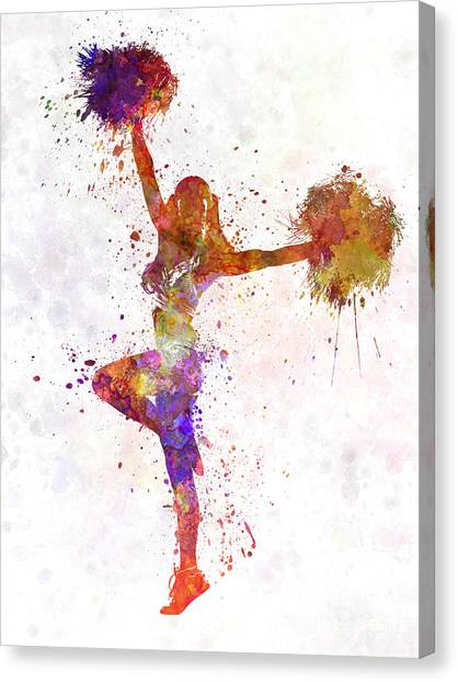Cheerleading Canvas Print - Young Woman Cheerleader 06 by Pablo Romero