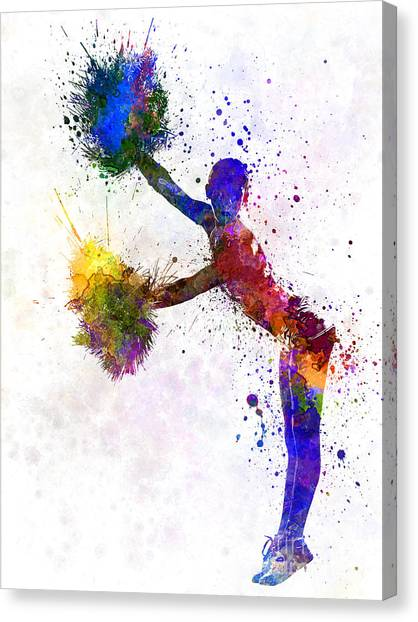 Cheerleading Canvas Print - Young Woman Cheerleader 07 by Pablo Romero