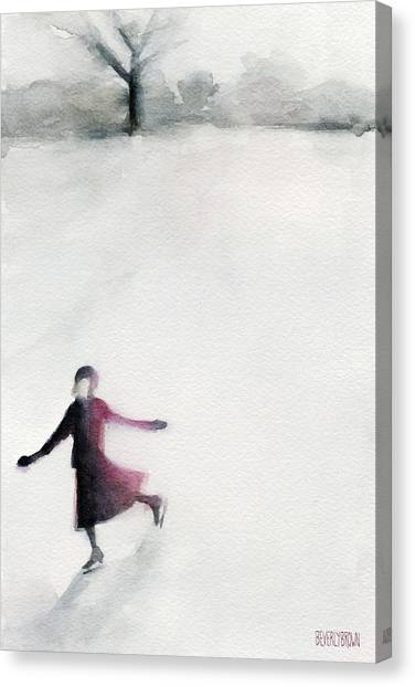 Ice Skating Canvas Print - Young Woman Ice Skating Watercolor Painting by Beverly Brown Prints
