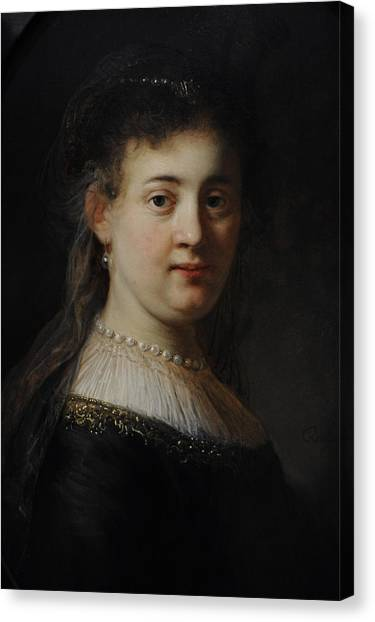 Rijksmuseum Canvas Print - Young Woman In Fantasy Costume, 1633, By Rembrandt 1606-1669 by Bridgeman Images