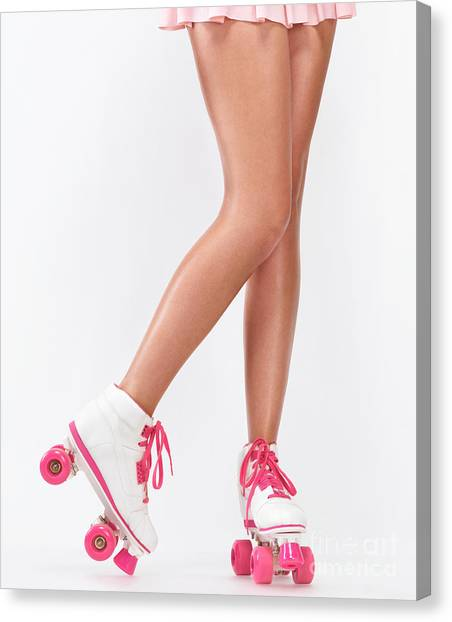 Roller Skating Canvas Print - Young Woman Long Legs In Pink Roller Skates by Oleksiy Maksymenko