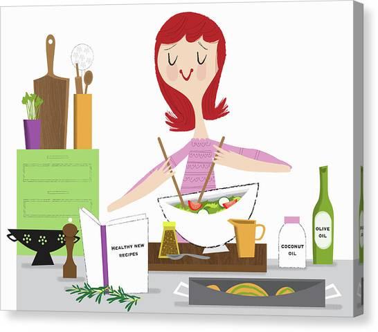 Salad Dressing Canvas Print - Young Woman Making Healthy Salad Using by Ikon Ikon Images