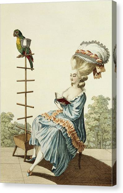 Fashion Plate Canvas Print - Young Woman Reading In A Day Dress by Claude Louis Desrais