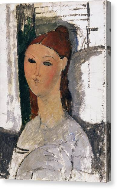 Redhead Canvas Print - Young Woman, Seated, C.1915 by Amedeo Modigliani