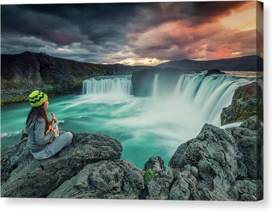 Ukuleles Canvas Print - Young Woman Sitting On Rock And Playing by Carlos M. Almagro