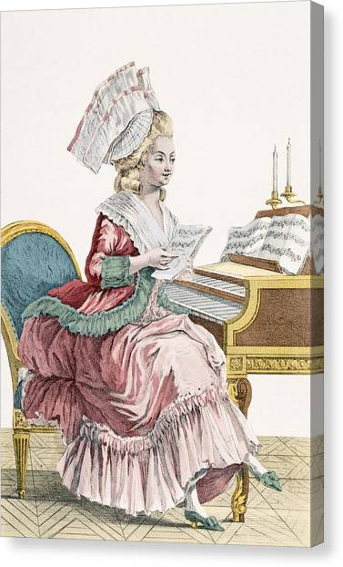 Pianos Canvas Print - Young Woman Studying Music by Pierre Thomas Le Clerc