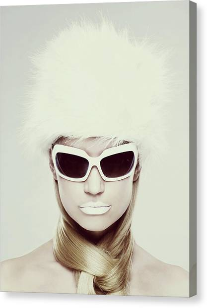 Young Woman Wearing White Sunglasses Canvas Print