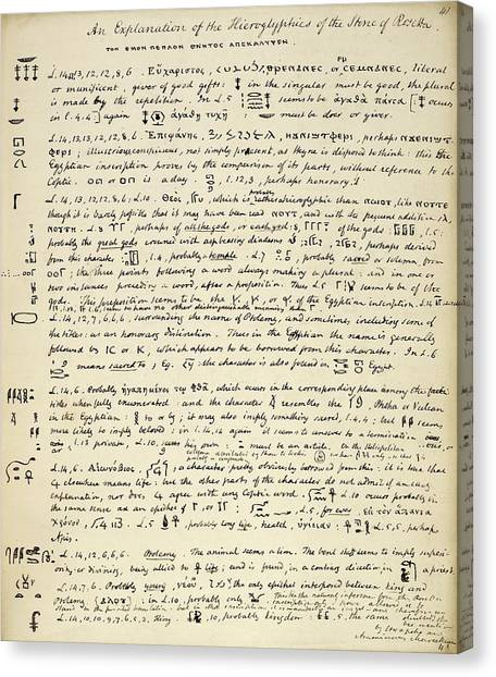 The British Museum Canvas Print - Young's Rosetta Stone Research by British Library