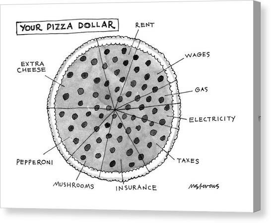 Taxes Canvas Print - Your Pizza Dollar by Mick Stevens