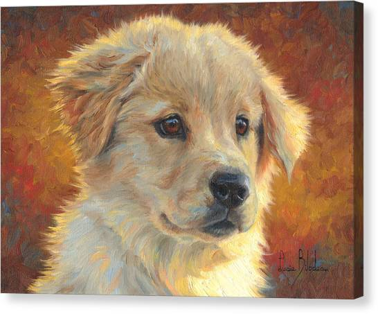 Golden Retrievers Canvas Print - Youth by Lucie Bilodeau