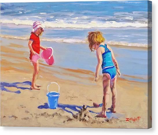 Children Playing On Beach Canvas Print - Yuck by Laura Lee Zanghetti