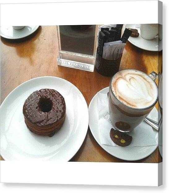 Doughnuts Canvas Print - Yum Chocolate Cronut And A Cup Of Cafe by Ivan Braginski