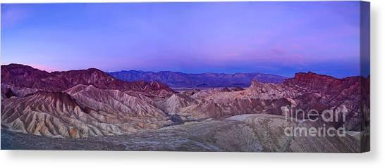 Death Valley Canvas Print - Zabriskie Sunrise Panorama - Death Valley National Park. by Jamie Pham