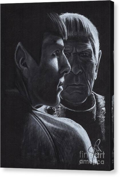 Spock Canvas Print - Zachary Quinto And Leonard Nimoy by Rosalinda Markle