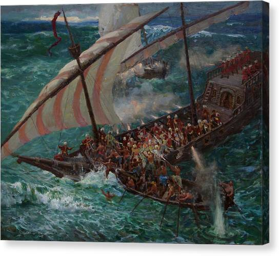 Zaporozhye Cossacks Boarded The Turkish Ship Canvas Print by Korobkin Anatoly