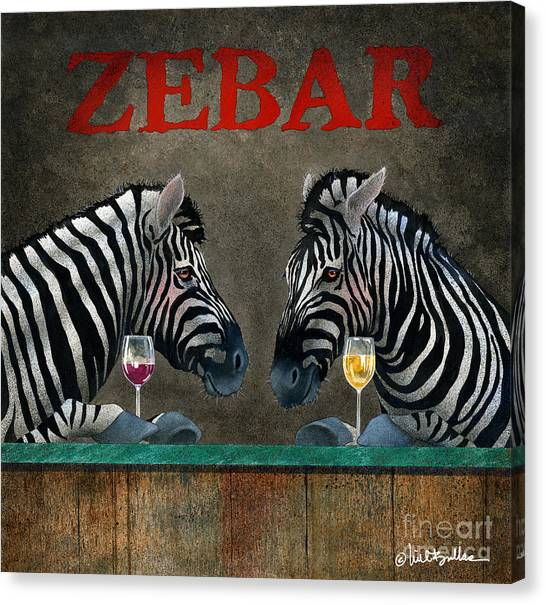 Zebras Canvas Print - Zebar... by Will Bullas