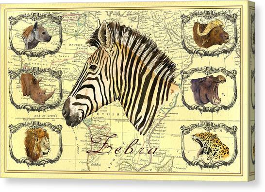 Rhinos Canvas Print - Zebra African Map Heads by Juan  Bosco