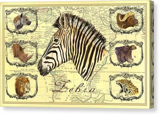 Rhinos Canvas Print - Zebra African Map Heads by Juan  Bosco