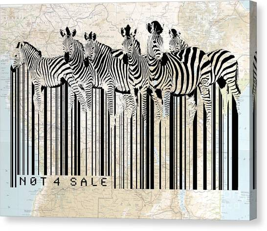 Canvas Print featuring the digital art Zebra Barcode by Sassan Filsoof