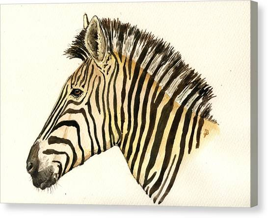 Zebras Canvas Print - Zebra Head Study by Juan  Bosco
