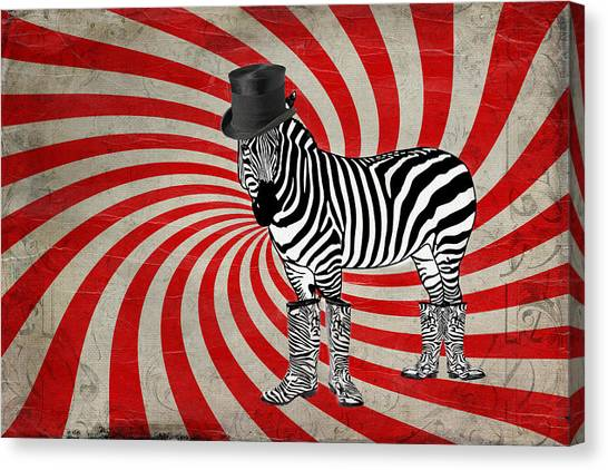 Funny Horses Canvas Print - Zebra In Boots by Terry Fleckney