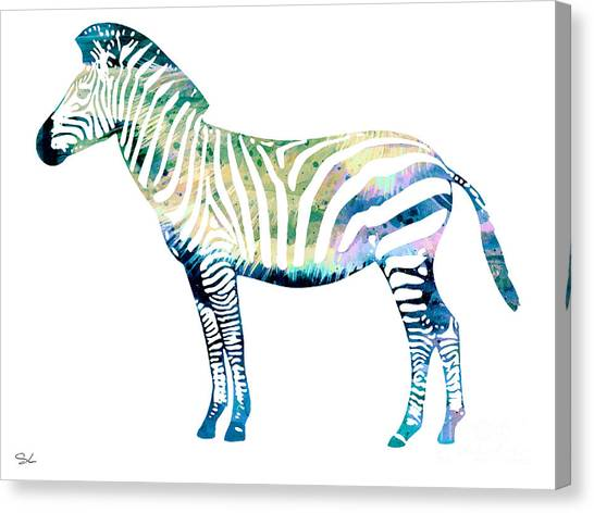 Zebras Canvas Print - Zebra  by Watercolor Girl