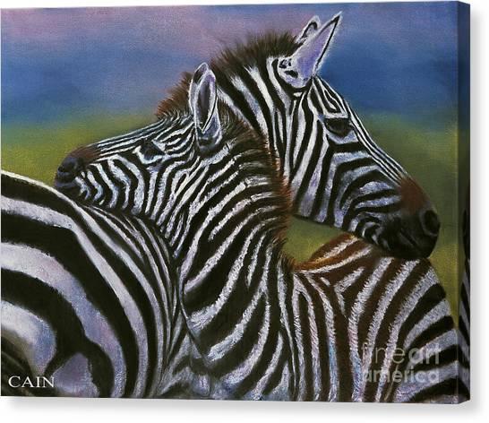 Zebras In Love Giclee Print Canvas Print
