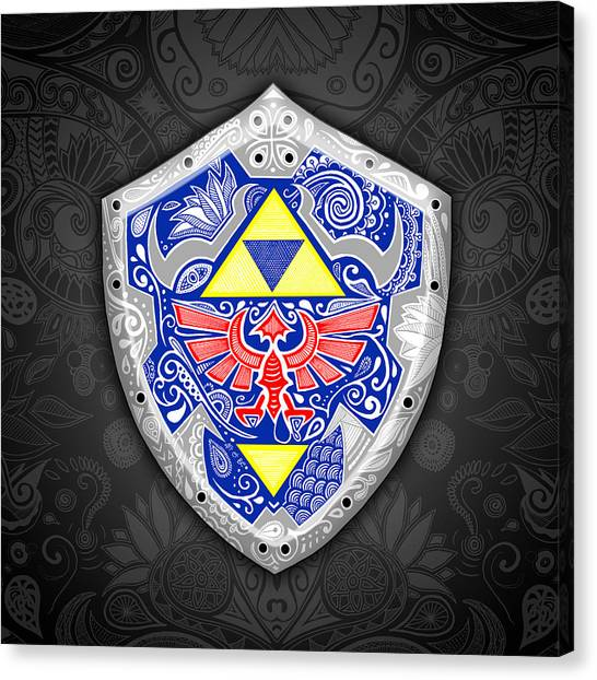 Gameboy Canvas Print - Zelda - Link Shield by Art Et Be