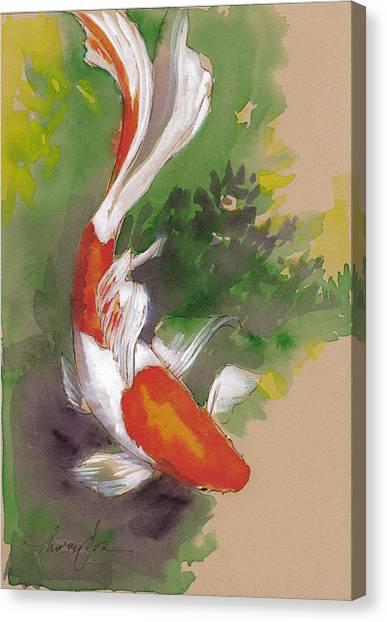 Goldfish Canvas Print - Zen Comet Goldfish by Tracie Thompson