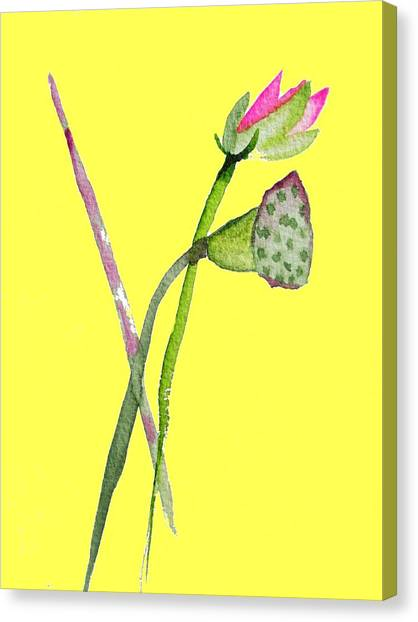 Zen Pink Lotus On Yellow Canvas Print by Sacha Grossel