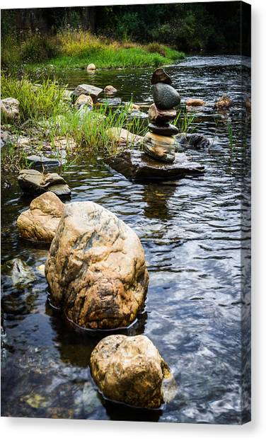 Mystic Setting Canvas Print - Zen River V by Marco Oliveira