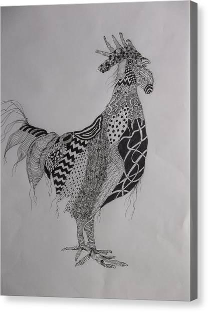 Zen Rooster Left Canvas Print