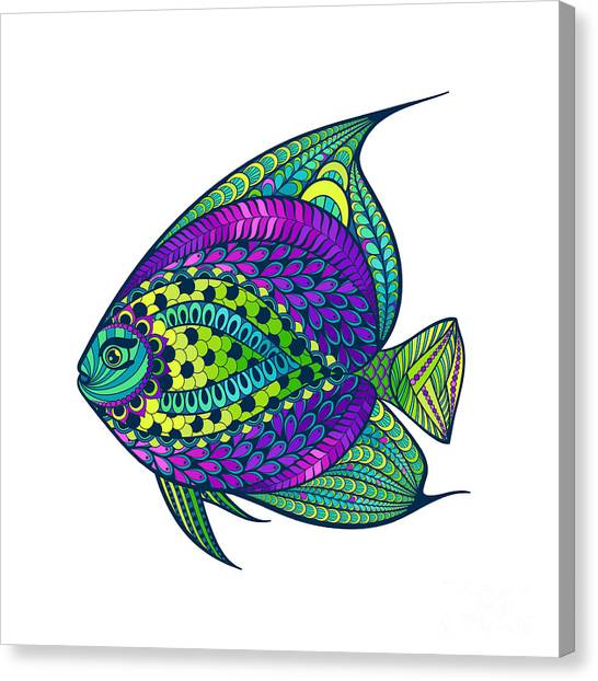 Engraving Canvas Print - Zentangle Stylized Fish With Abstract by Avokishvok